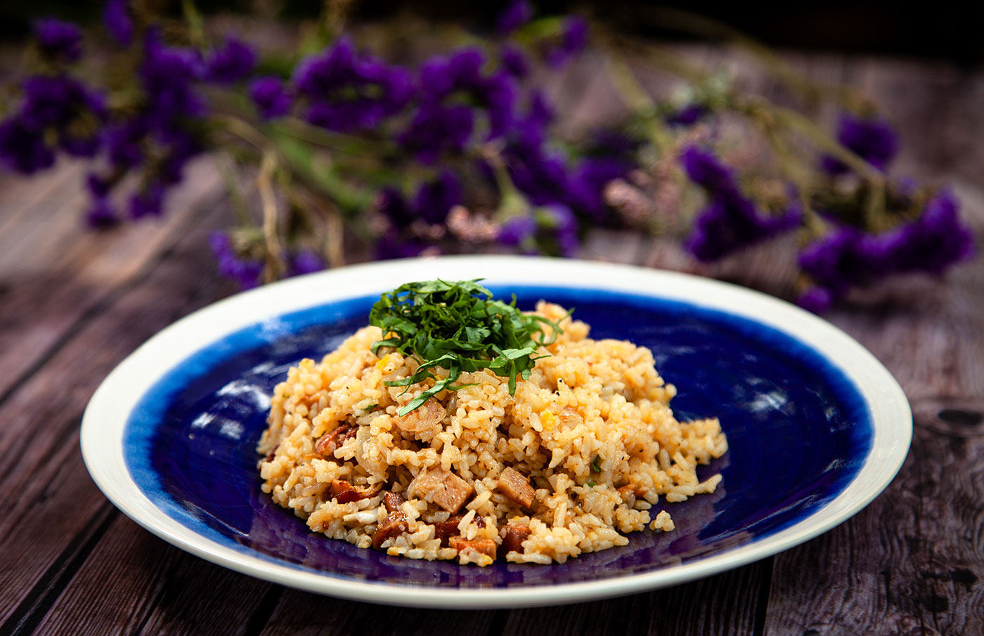 Fried Rice with Portuguese Sausage and Bacon