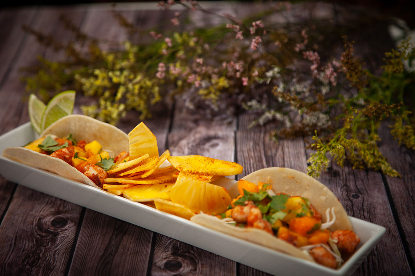 Shrimp Tacos with Fresh Fruit Salsa and Spiced Ulu Chips