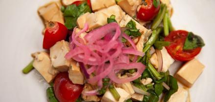 Tomato Tofu Watercress Salad