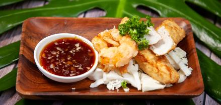 Shrimp and Ono Tempura with Opae dipping sauce